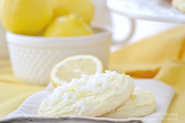 Lemon Sugar Cookies with Lemon Buttercream Frosting   www.motherthyme.com
