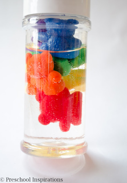 rainbow bear sensory bottles for toddlers