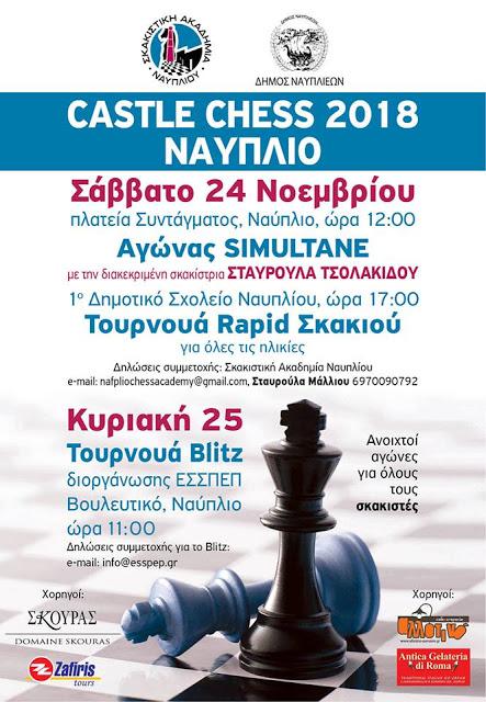 Castle Chess 2018:  Σκακιστικό διήμερο στο Ναύπλιο