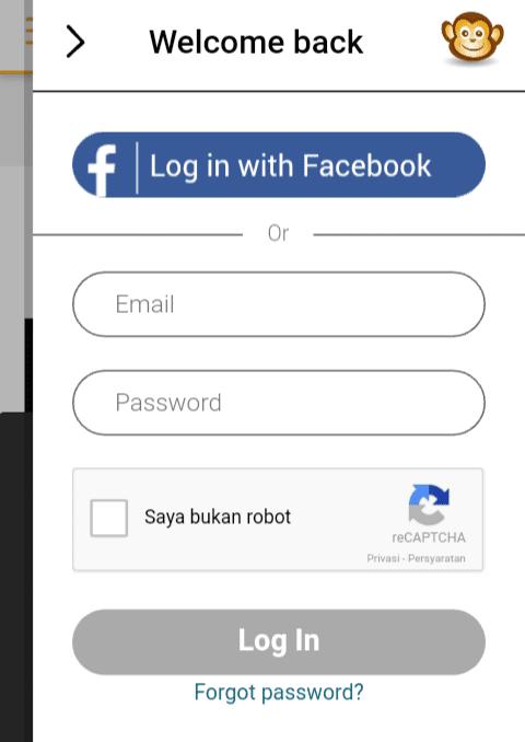Anda bisa mendaftar menggunakan akun Facebook ataupun mendaftar terlebih dahulu pada menu Sign Up yang berada di bawah.
