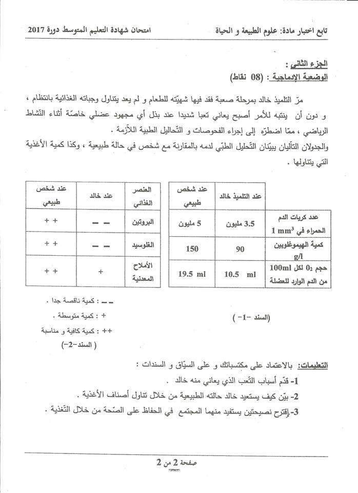 موضوع شهادة التعليم المتوسط علوم طبيعية 2017 مع التصحيح الوزاري