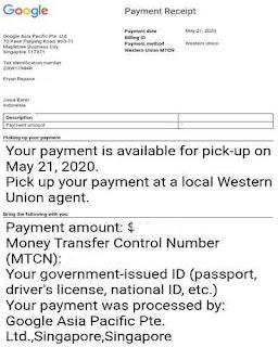 Transaksi Google adsense mentransfer uang lewat WU