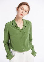 500 kale green 18mm basic box pleated silk shirts 01 - SHOP