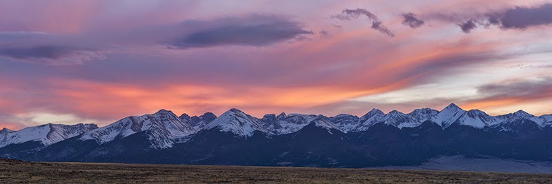 Sunset over the Sangre de Cristo Range near Westcliffe Colorado panorama