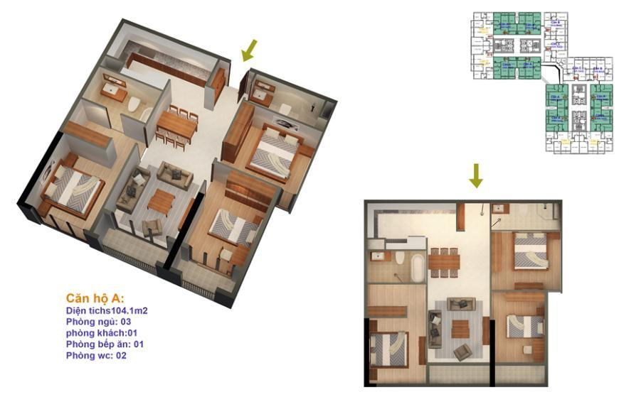 Mặt bằng căn hộ số 01-02-05-06-11-12-15-16