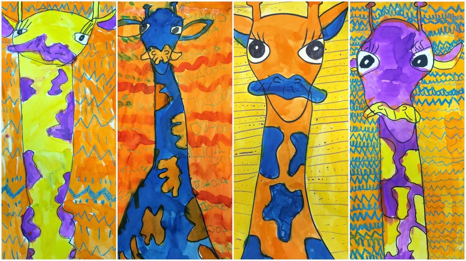 Art Eat Tie Dye Repeat 2nd Grade Complement Color Giraffes