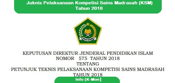 Juknis Pelaksanaan Kompetisi Sains Madrasah (KSM) Tahun 2018