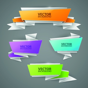 Creative origami paper banner design vector set - Free vector