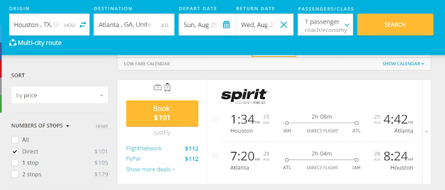 Nonstop flight from Houston-Hobby to Atlanta for $101 roundtrip on Spirit Airlines