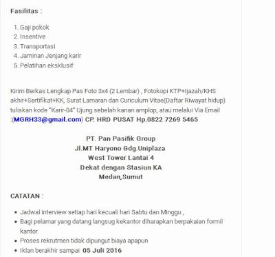 Lowongan Kerja Medan PT. Pan Pasifik Group Juli 2016 ...