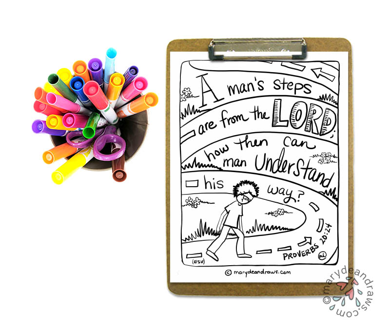 Proverbs 20:24 Bible verse coloring page from Marydean Draws