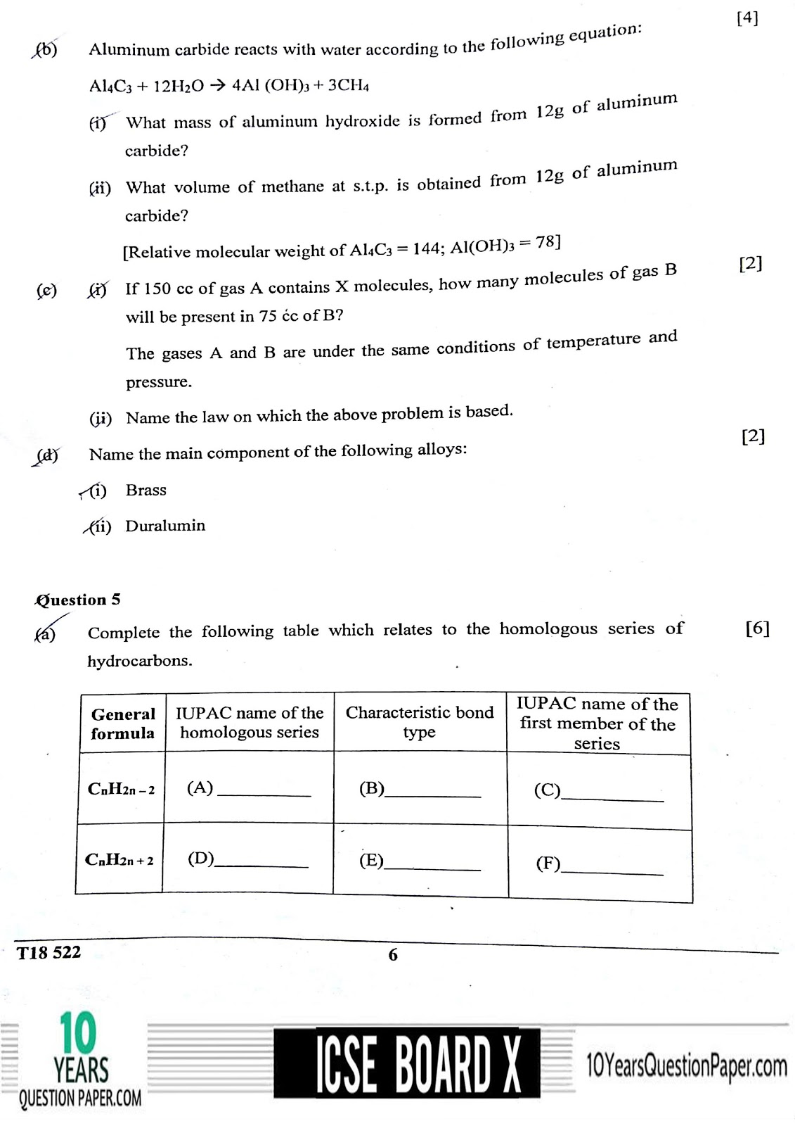 ICSE Board 2018 class 10th Chemistry question paper Download page-06