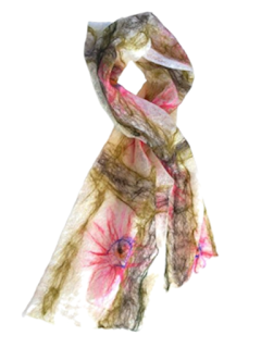 Handmade merino scarf Passion Flower by Mimi Pinto on Amazon UK