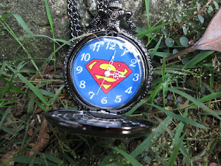 Jam Saku Antik Superman P961 New Stainless Steel With Necklace Chain