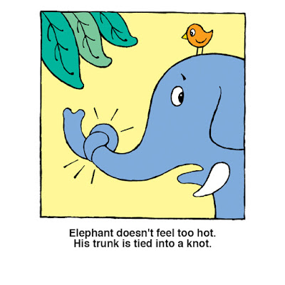 Elephant's trunk is tied in a knot