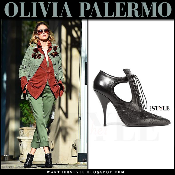 Olivia Palermo in green jacket, suede orange tibi shirt, green trousers and black booties givenchy what she wore