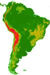 Mapa de la Cordillera de Los Andes, en Sudamérica