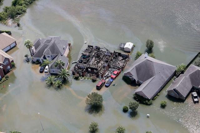 A house burnt down in a flood