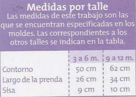 medidas por talle para chaleco de bebe