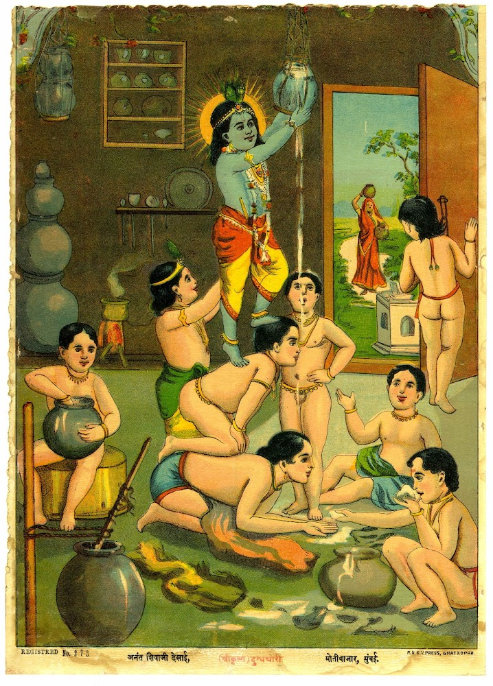 Krishna Stealing the Butter, Assisted by Eight Accomplices - Color Lithograph, Early 20th Century