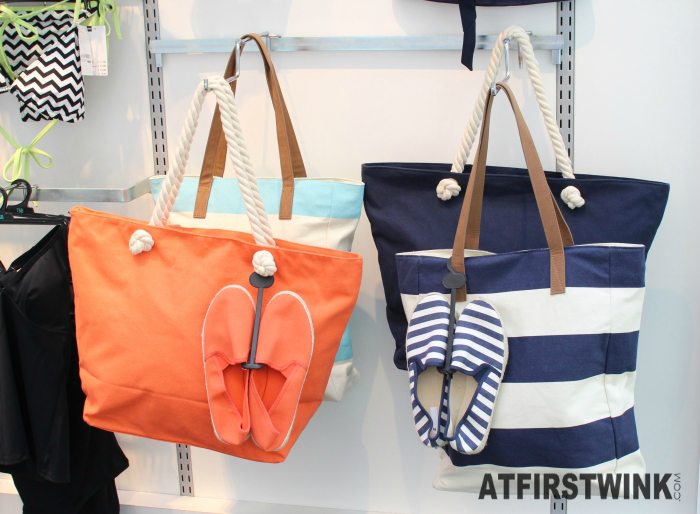 HEMA beach bags and navy stripe espadrille