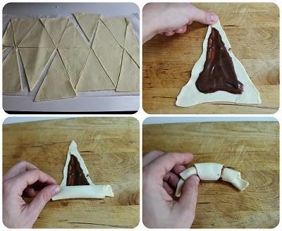 Cornetti di pasta sfoglia al cioccolato
