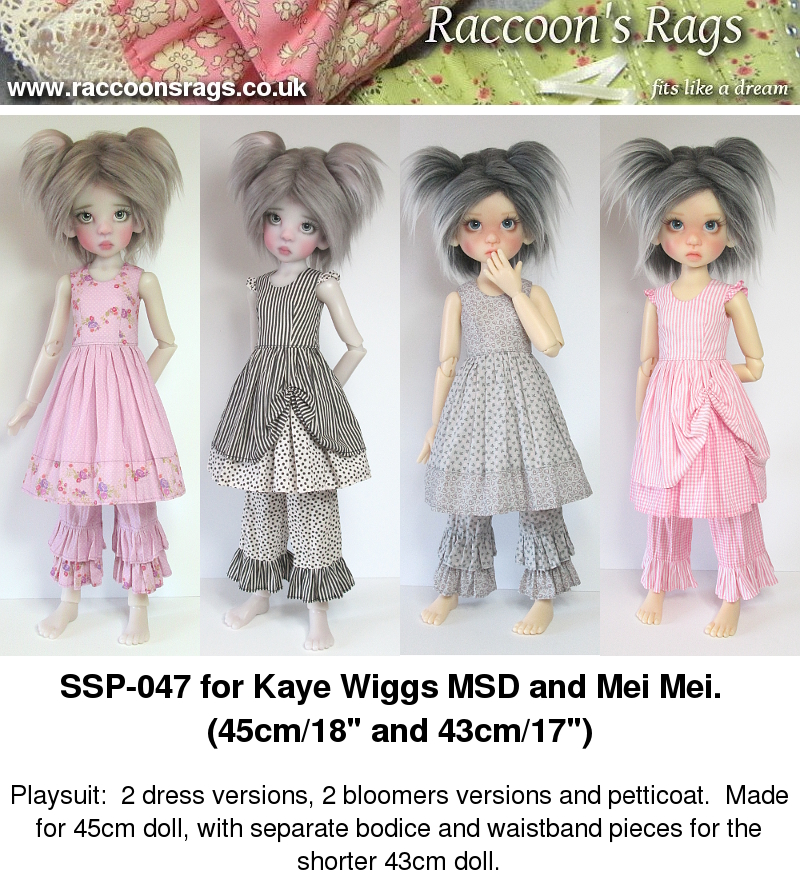 Raccoons Rags: SSP-047: Sewing pattern for playsuits for Kaye Wiggs ...