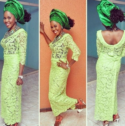 Beautiful Aso Ebi Styles Cord Lace Paired With Green Gele
