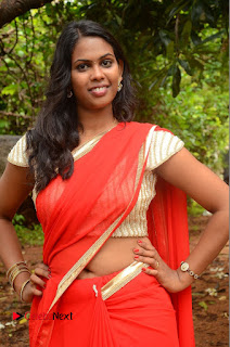 Actress Rishika Pictures in Red Saree at Lovers Park Movie Opening  0069