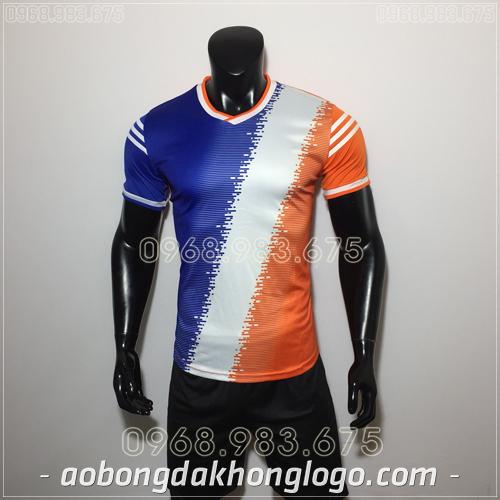 Áo bóng đá không logo TL Vidal  màu  xanh cam