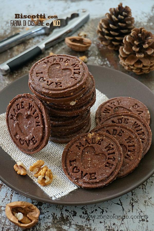 Biscotti con farina di castagne, cacao, noci ricetta autunnale - chestnut wallnut cookies recipe homemade