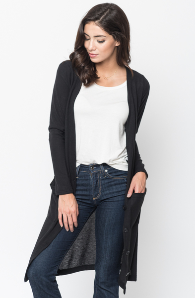 Shop for Black Everyday Maxi Cardigan Front Pockets and Full Length Sleeves Online - $44 - on caralase.com