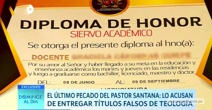 Pastor Santana de la Iglesia «El Aposento Alto», pedía más de S/ 5 mil para otorgar títulos a nombre de universidad fantasma [VIDEO]