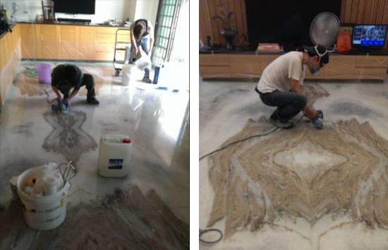 將地板石材接縫處切割使地面水氣蒸發,並做縫隙清潔。