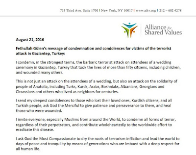 Fethullah Gülen condemns the terrorist attack in Gaziantep, Turkey