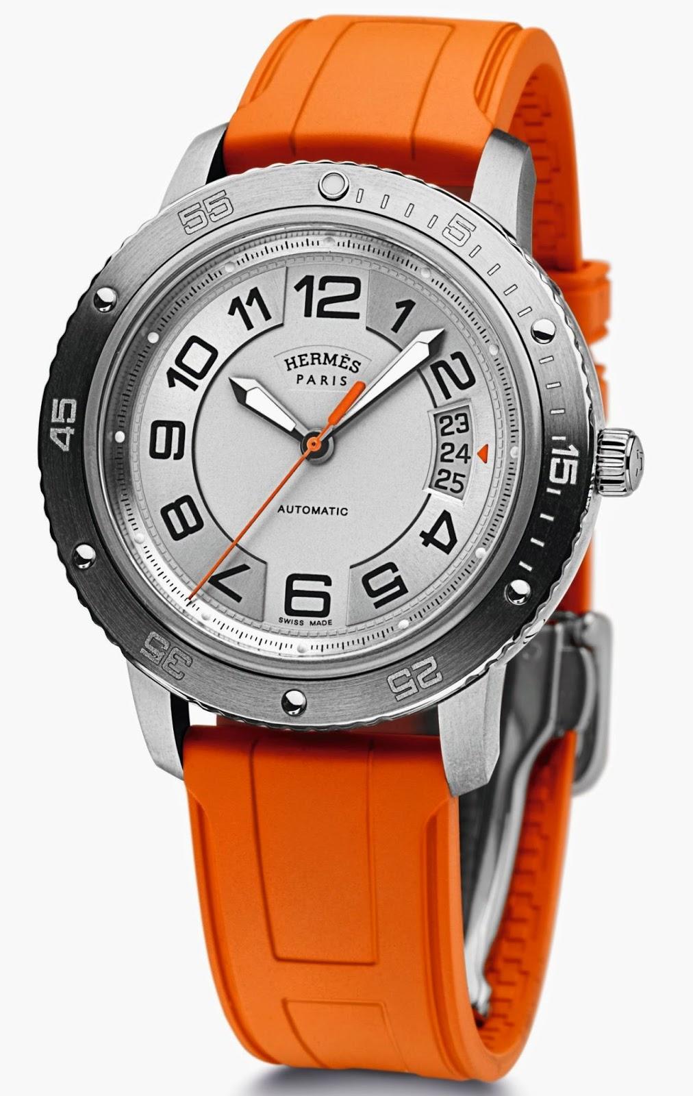 Hermès Clipper Sport automatic watch with orange rubber strap