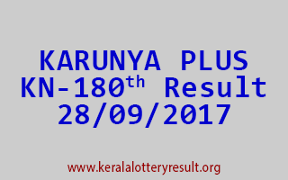 KARUNYA PLUS Lottery KN 180 Results 28-9-2017