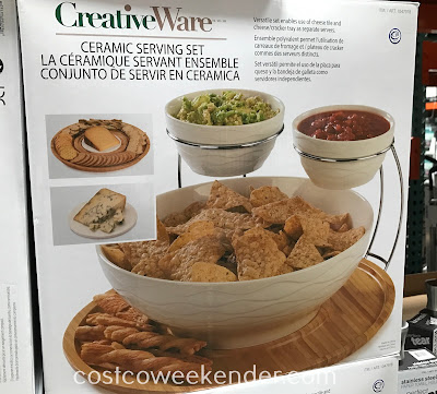 Easily serve chips and dip to guests with the CreativeWare Ceramic Serving Set