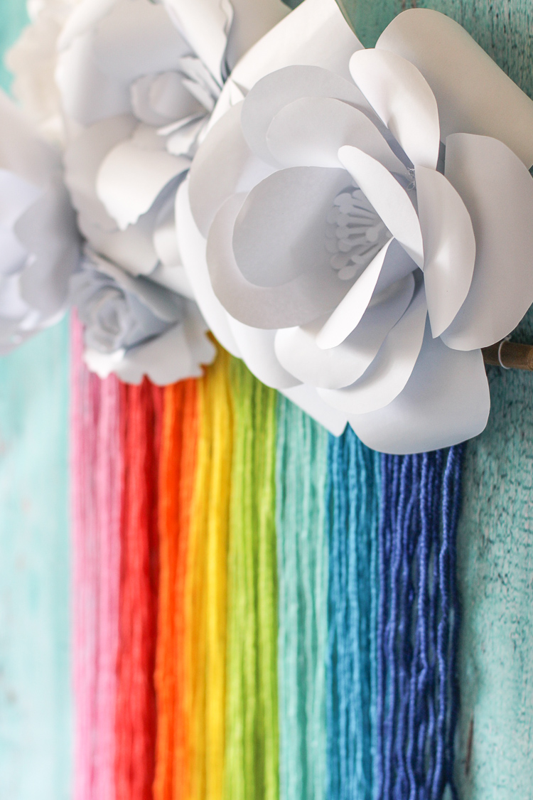 DIY this cute rainbow macrame and paper flower craft