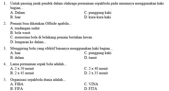 Kumpulan Soal PJOK SMP Kelas 7 Semester 1 | Didno76.com