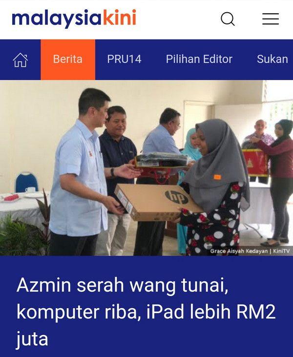 Dedak PKR: Azmin serah wang tunai, komputer riba, iPad lebih RM2 juta
