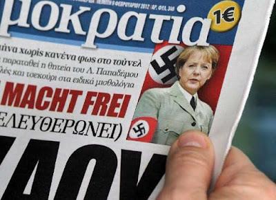 Angela Merkel aus Hitler in Zeitung