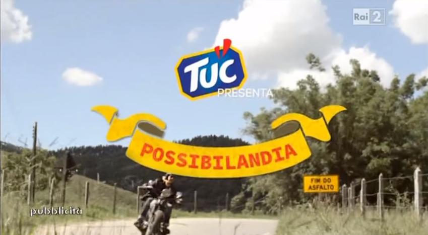 Nome modello e modella Tuc  Capra e Motociclista con Foto - Testimonial Spot Pubblicitario Tuc  2016