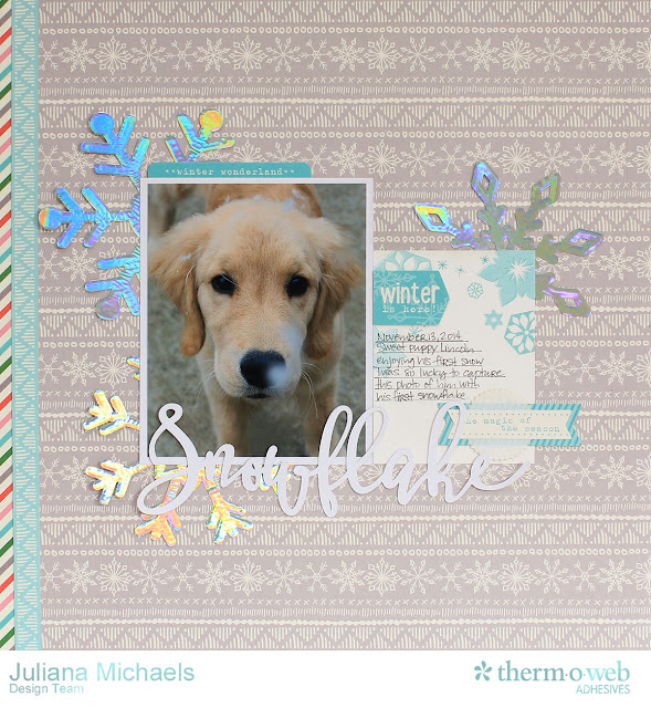 Snowflake Puppy First Snow Scrapbook Page by Juliana Michaels featuring Therm O Web Deco Foil and Adhesives