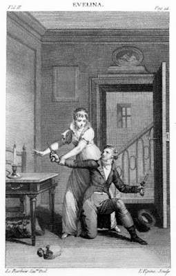 Evelina interrupts Mr Macartney  from Evelina Vol 2 (1808)