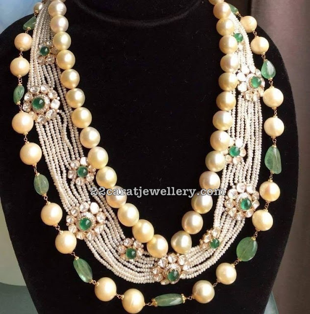 Pearls and Emeralds Kundan Set