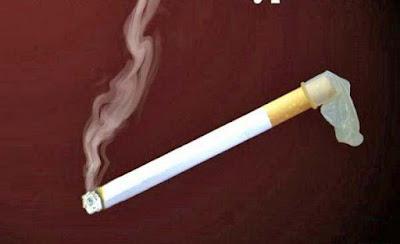 Lustige Bilder Zigarette mit Kondom - vor rauchen schützen