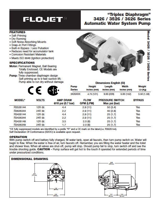 Class A Customs  Flojet 12v Water Pump 2 9 Gpm Model