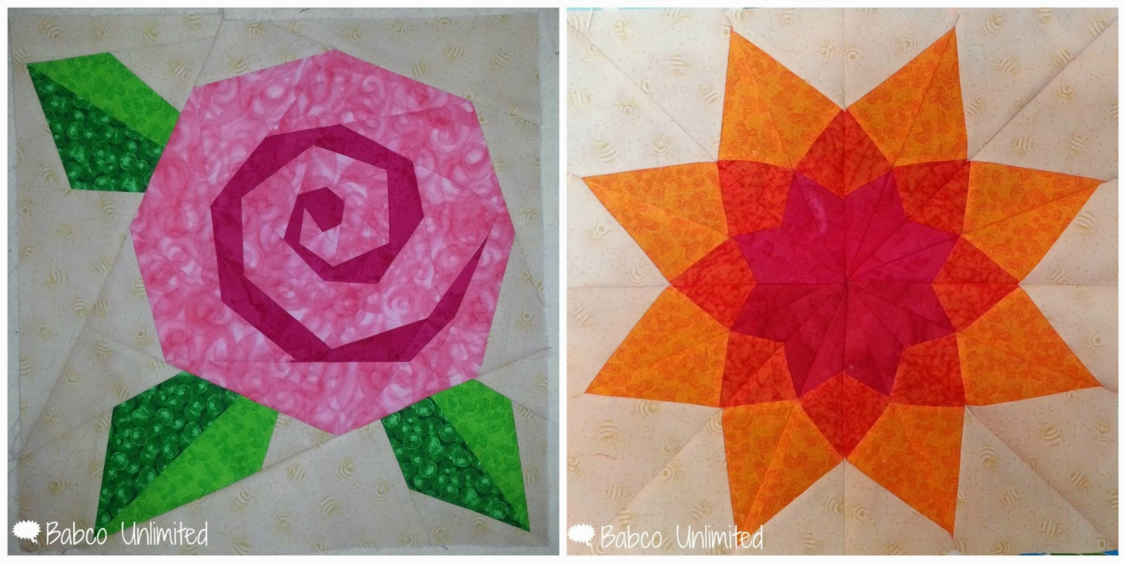 BabcoUnlimited.blogspot.com - Pink Block Challenge, Flower Quilt Block