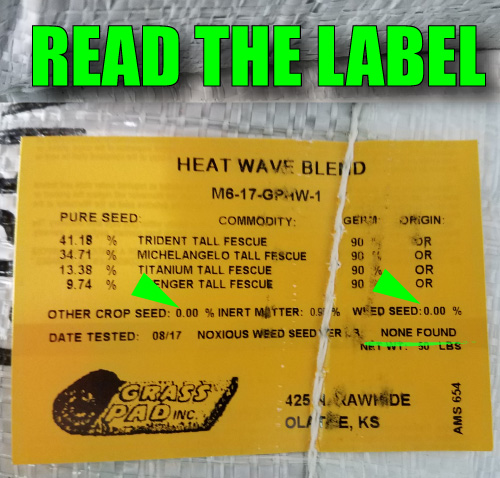 Heat Wave Turf-Type Tall Fescue Seed Tag
